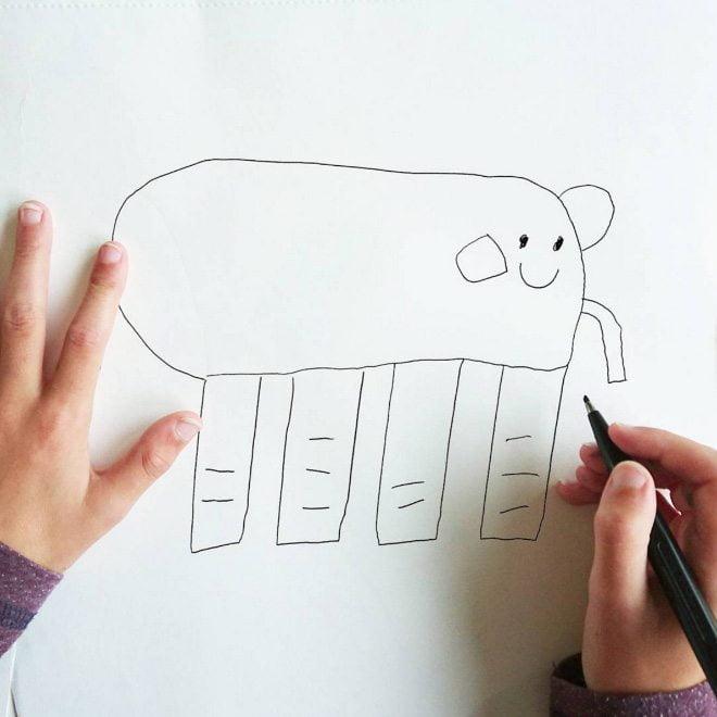 ציור של פיל על ידי ילד בן 6