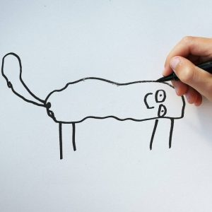 ציור של חתול על ידי ילד בן 6